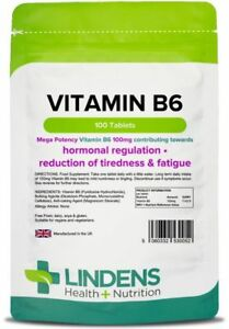 Vitamin-B6-100mg-100-tablets-One-a-day-energy-mood-cramps-PMS-Lindens-0052