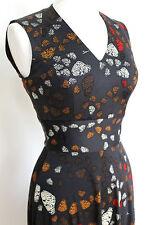 ISSA Black Butterfly Wing Silk Jersey Dress uk 8