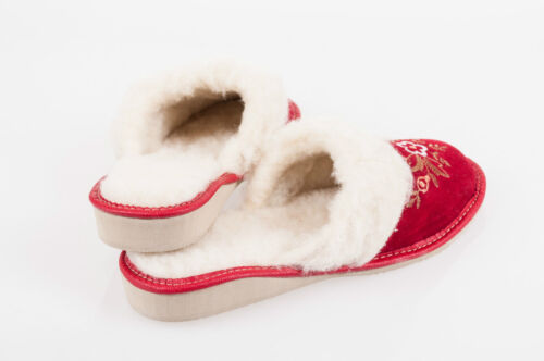 Women Red 100/% Suede Leather Slippers Wool Shoes Size 3 4 5 6 7 8 Flip-Flop F