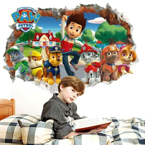 PAW Patrol Wall Sticker Cartoon Smashed 3D Style Poster Vinyl Decal pegatina