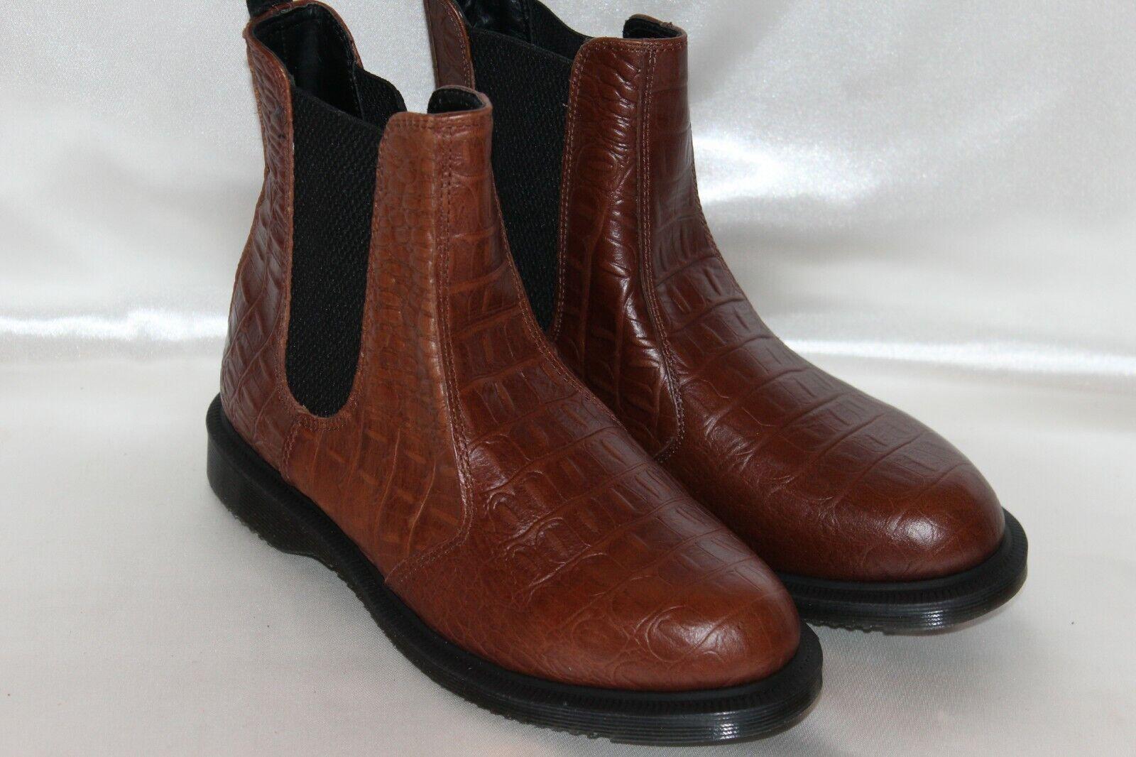 NEW  DR DOC MARTENS Brown Croc Croc Croc Embossed Leather FLORA Chelsea Boots Sz 8 EU39 f17eb9