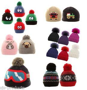 Boys Girls Kids Childrens Winter Hats Beanie Bobble Novelty Ski Warm ... cc4aaa6266c