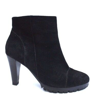 H By Hudson Black Suede Boots Mid Heel Slip On Leather Calf  Karyn Shoes  8 41