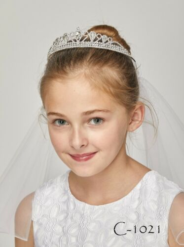New Girls Rhinestone First Communion Veil Tiara Headpiece Baptism Christening 4