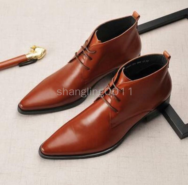 Men High Top Pointy Toe Retro Leather Dress Formal shoes Lace Up Ankle Boots SY