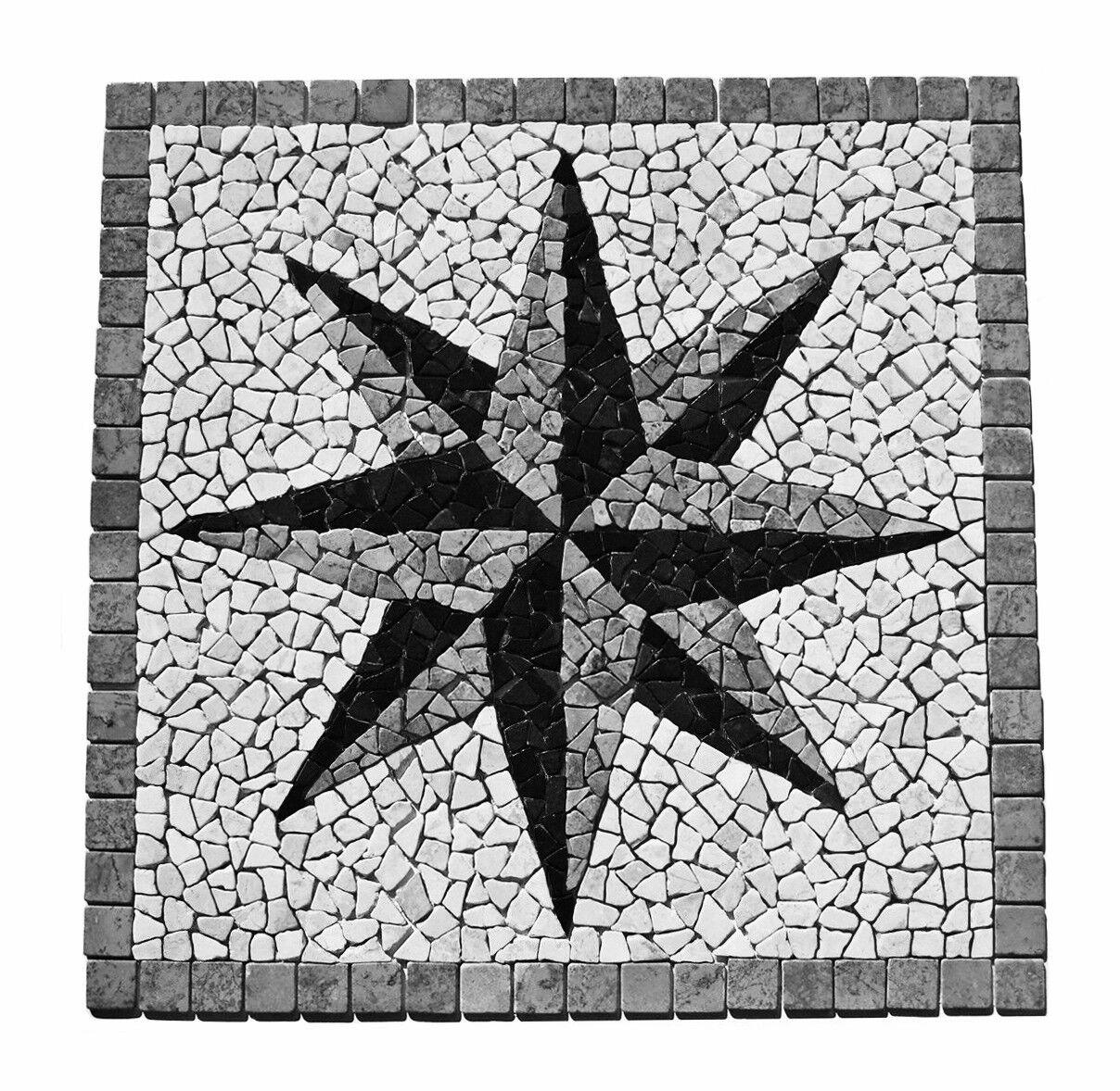 1 Mosaik Bild RO-007 - 90x90 - Rosone Mosaikfliesen Lager Stein-mosaik Herne NRW