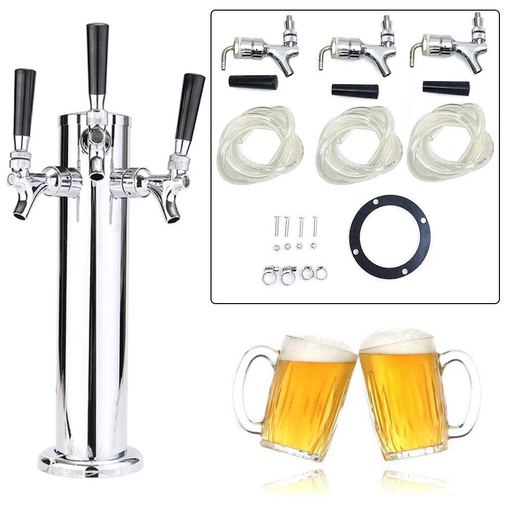 3 Taps Stainless Steel Draft Beer Tower Triple faucet F/Kegerator Beer Dispenser 7
