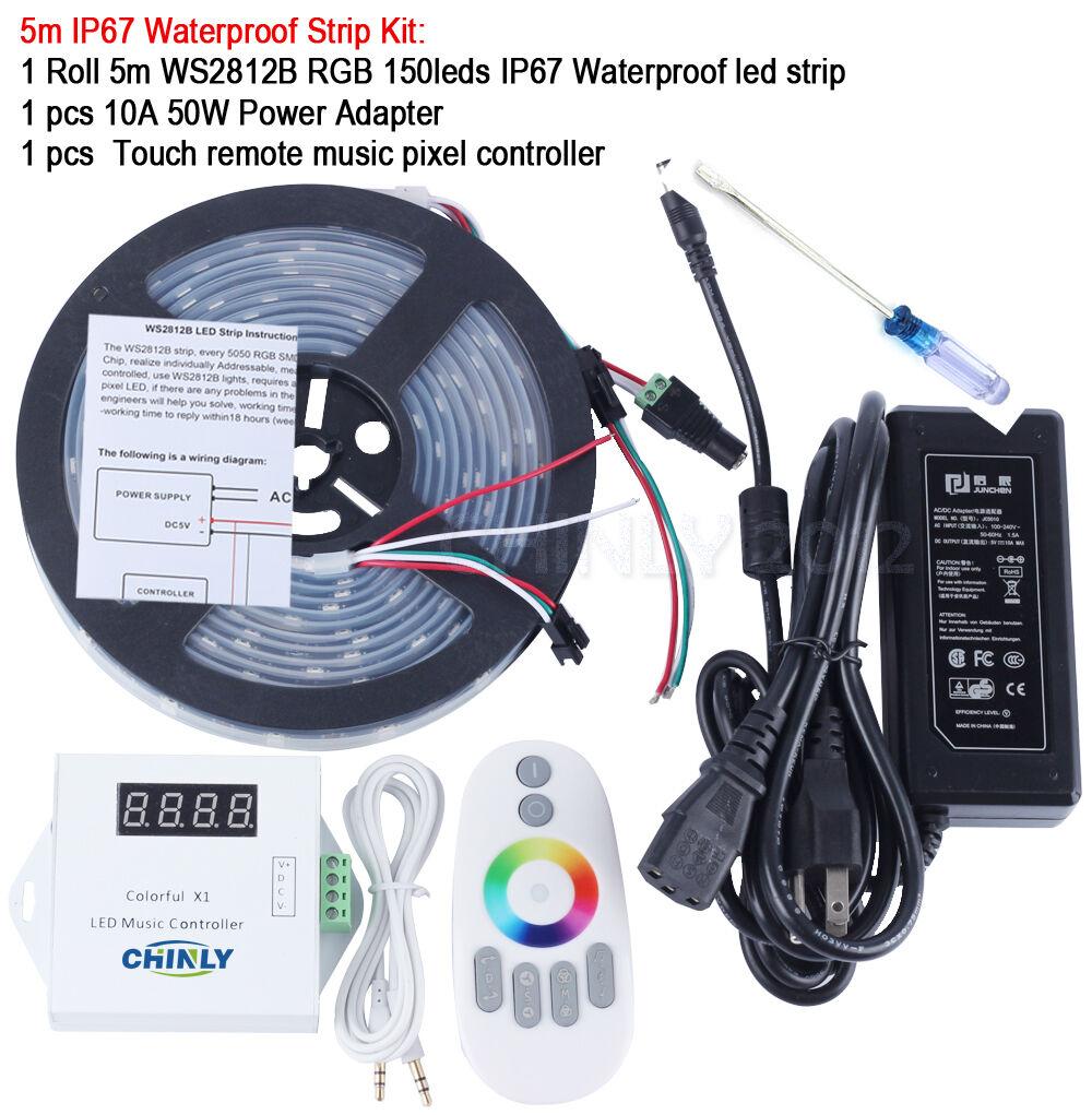 WS2812B 5m Wasserdichte Flexible LED Pixel Streifen Licht + Musik Controller Kit