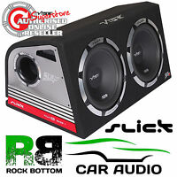 """Vibe Slick 2400 Watts TWIN 12"""" Inch Active Amplified Car Sub Subwoofer Bass Box"""