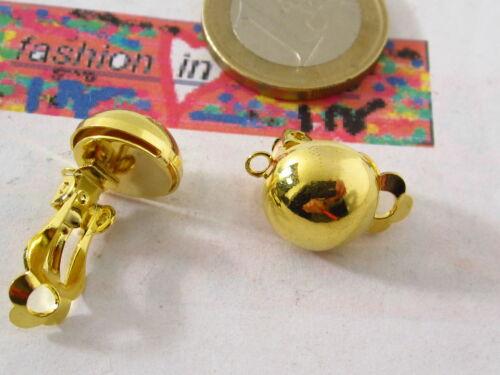 2 Orecchini clip tondo frontale bombato dorato 10 mm