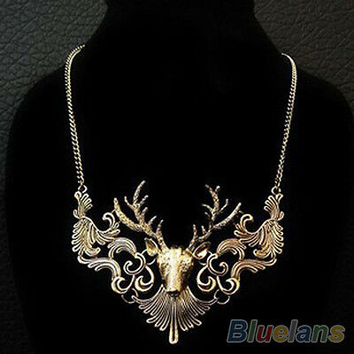 Women Retro Statement Alloy Hollow Deer Head Pendant Insects Necklace European