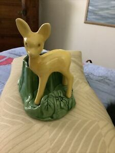 Vintage USA Shawnee Art Pottery Yellow Deer Fawn #624 Planter Trinket Dish