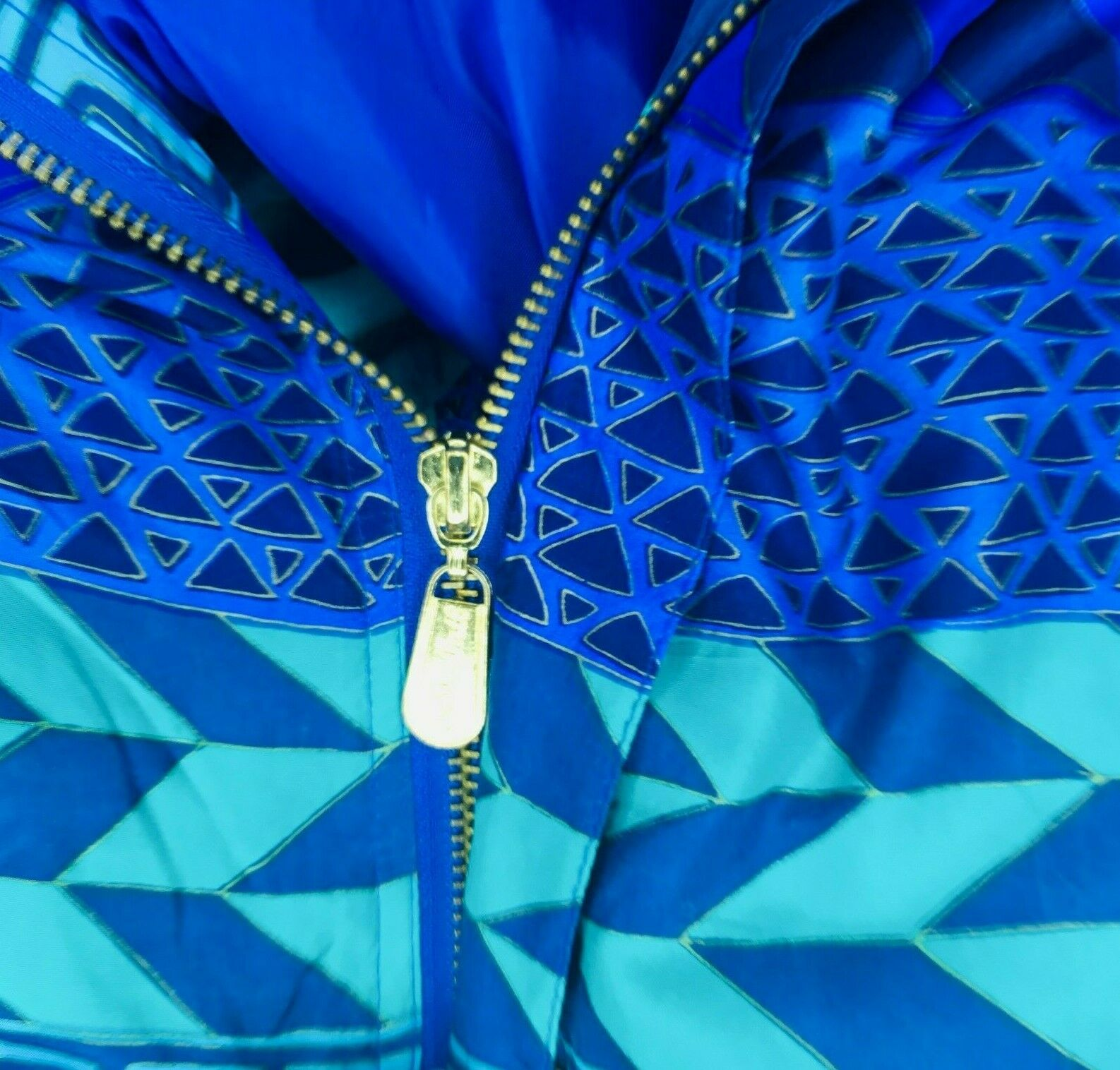 Fuda International Silk Jacket Blue Green Geometr… - image 5