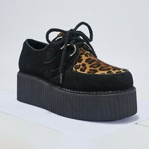 Truffle DRE2 Black Faux Suede Leopard Hi Creepers Ladies Vegan Shoes Punk Rock