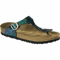 Birkenstock Gizeh Ladies Womens Slip On Toe Post Sandals Shiny Snake Black Multi
