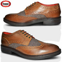 Mens Base London Leather Wedding Smart Brogue Dress Formal Office Lace Up Shoes