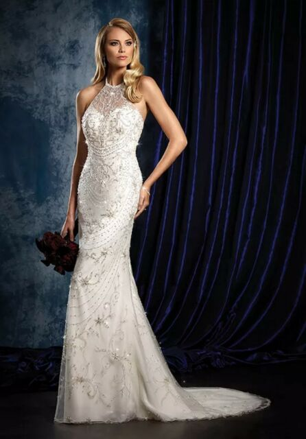 NWT Alfred Angelo 958 Ivory net halter bridal gown, Size 6 wedding gown, $1300