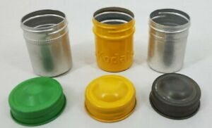 VINTAGE Lot of 3 Aluminum Film Canisters with Caps 2Generic & 1 KODAK