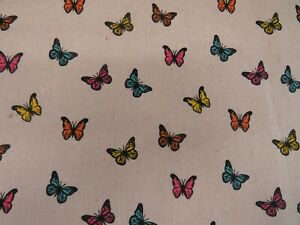 Butterflies-Linen-Look-Cotton-Curtain-Fabric-Upholstery-Quilting-Cushions-Craft
