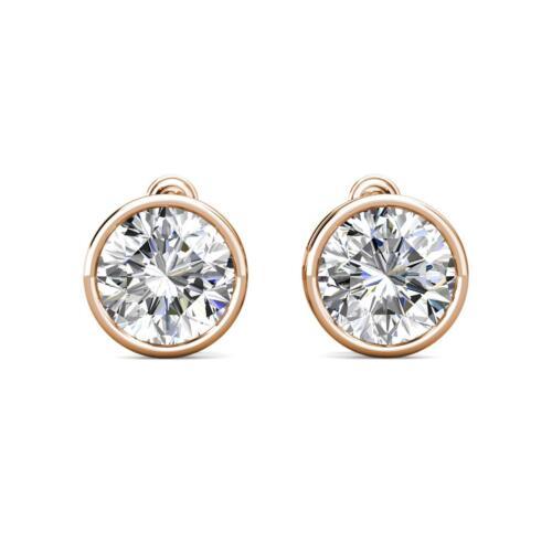2 ct créé diamant 14k or rose cadran ronde Vis Arrière Clous d/'oreilles 6 mm