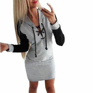 Womens Sexy Slim Fit Hooded Dress Above Knee Length O Neck Lace Up ... 6b97953d41