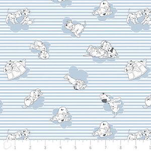 Disney-101-Dalmatians-Stripes-amp-Clouds-Light-Blue-100-Cotton-fabric-by-the-yard