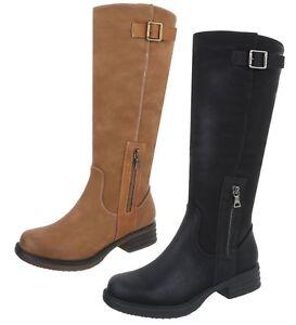 87b4811d8f Dettagli su Stivali Donna Tacco Basso Stivaletti Fondo Gomma Cerniera  Fibbie Scarpe Boot