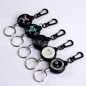 Retractable-Pull-Chain-Reel-Card-Badge-Holder-Recoil-Belt-Plastic-Key-Chain-NEW