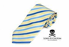 Lord R Colton Basics Tie - Yellow & Blue Stripe Woven Necktie - $59 Retail New