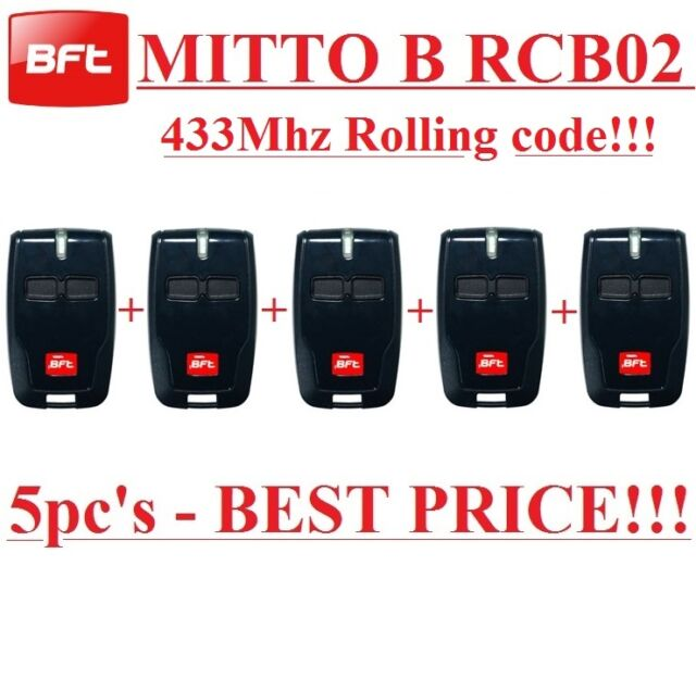 5 X BFT Mitto B RCB02 R1 2-channel remote, 433,92Mhz, New Version of  BFT Mitto2