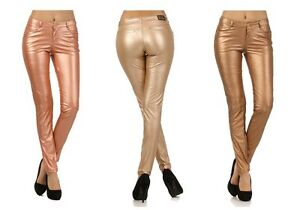 VIRGIN ONLY Skinny Rose Gold / Bronze Leather Jeans VO Women slim ...