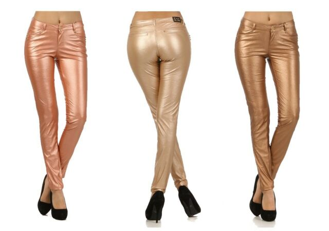 VIRGIN ONLY Skinny Rose Gold / Bronze Leather Jeans VO Women slim pants Metallic