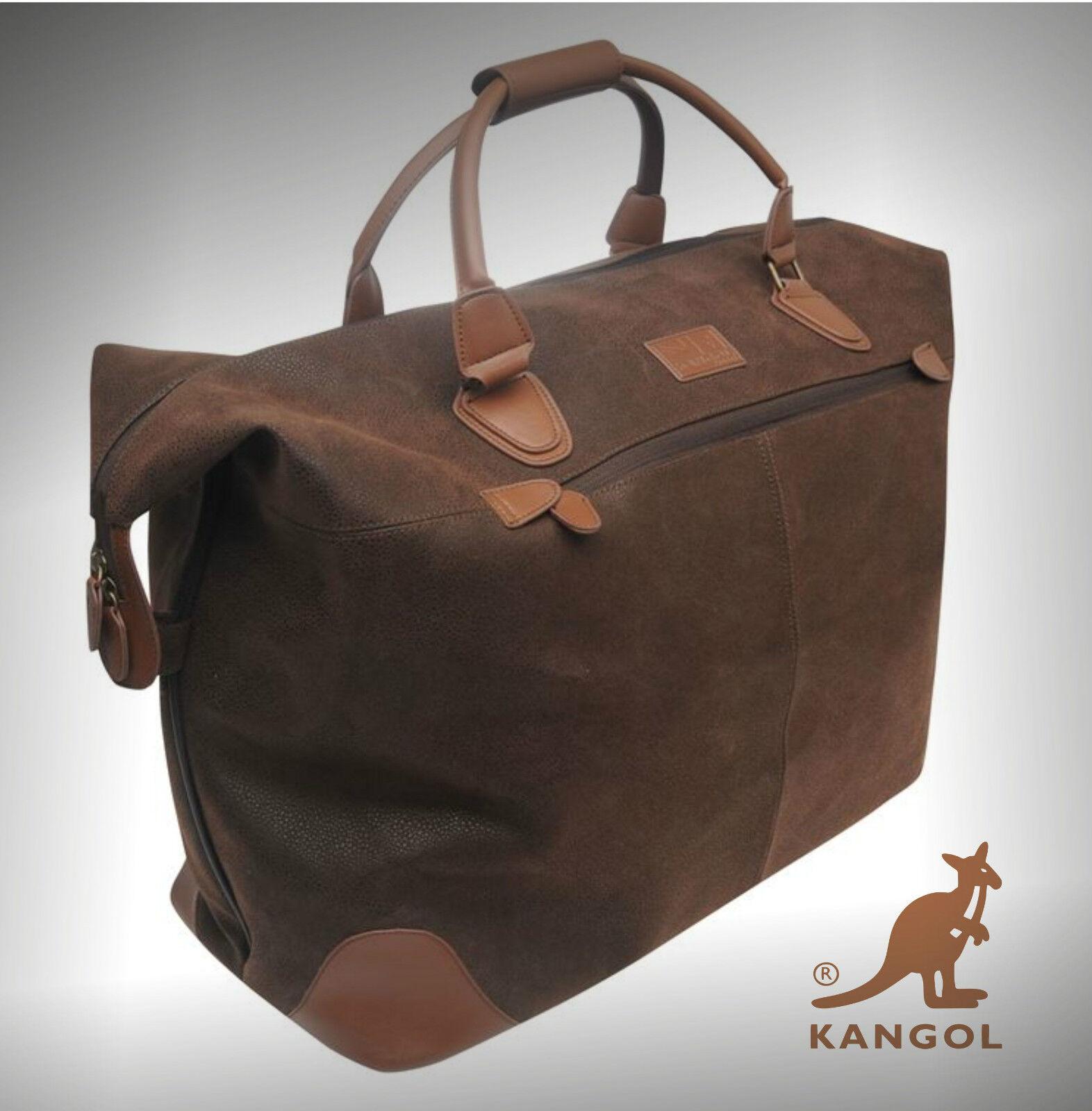 Autentico Designer Kangol Viaggi Borsa Overnight Holdal Bagaglio a Mano Borsa Marronee