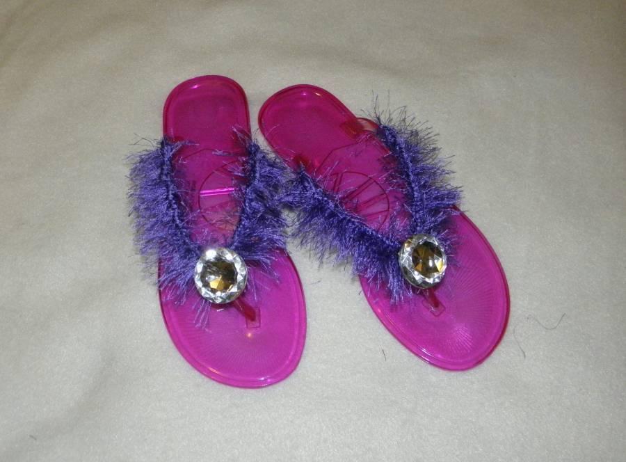 ~NEW~ Womens Teens handcrafted size 7 pink purple rhines jelly fringe flip flops rhines purple f6485b