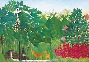 Henri-Rousseau-The-Waterfall-A4-size-Canvas-Art-Print-Poster-No-Framed