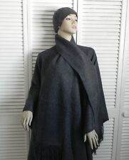 New Womens SZ M Gray Alpaca Wool Cloak Cape Ethnic Poncho Scarf Hat Beret PERU