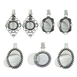 4-Sets-Mixed-Silver-Alloy-Oval-Round-Bezel-Glass-Cameo-Cabs-Hairpin-Hair-Clip