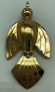 Vintage-Coro-Pegasus-Bird-Pin-Brooch-Book-Piece-Gold-Tone-Rhinestone