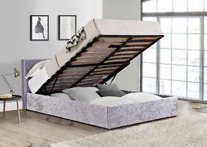 Birlea Berlin Steel Grey Velvet Ottoman Storage Bed Small Double 4ft