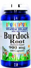 900mg Burdock Root 100 Capsules Arctium Lappa Herbal Dietary Supplement Pill VB