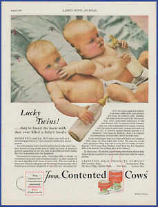 Vintage 1929 CARNATION Milk Baby Twins Art Décor 20's Print Ad