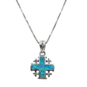 925 sterling silver jerusalem cross necklace blue opal pendant chain image is loading 925 sterling silver jerusalem cross necklace blue opal aloadofball Images