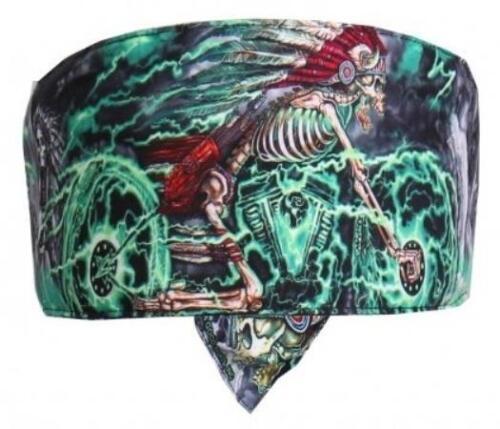 Hotleathers road wrap head wrap  sweatband skeleton skull headdress riding bike
