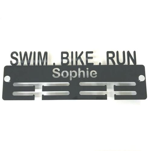 Personalised Swim Bike Run Medal Hanger - Many Colour Choices, Includes Fixings