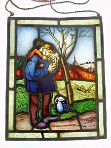 """Bleiverglasung Fensterbild originale Glasmalerei / Ätzung """"Großvater mit Enkel"""""""