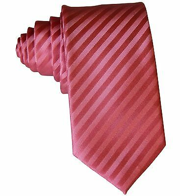 "New Polyester Woven Men's 2.5"" slim necktie Wedding Stripes Coral Prom"