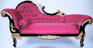 Image Is Loading CHAISE LONGUE FUCHSIA PINK BLACK Amp GOLD CRYSTALS