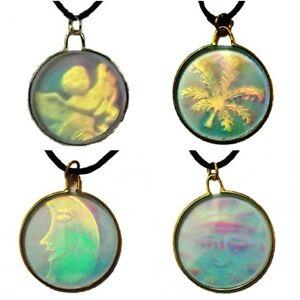 3d vintage glass hologram holographic leaf moon sun angel necklace image is loading 3d vintage glass hologram holographic leaf moon sun aloadofball Choice Image