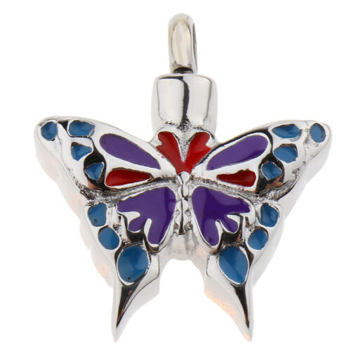 Stainless Steel Enamel Butterfly Urn Necklace Ashes Locket Cremation Jewelry