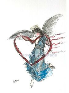 Print-of-original-ink-watercolour-painting-angel-heart-contemporary-illustration